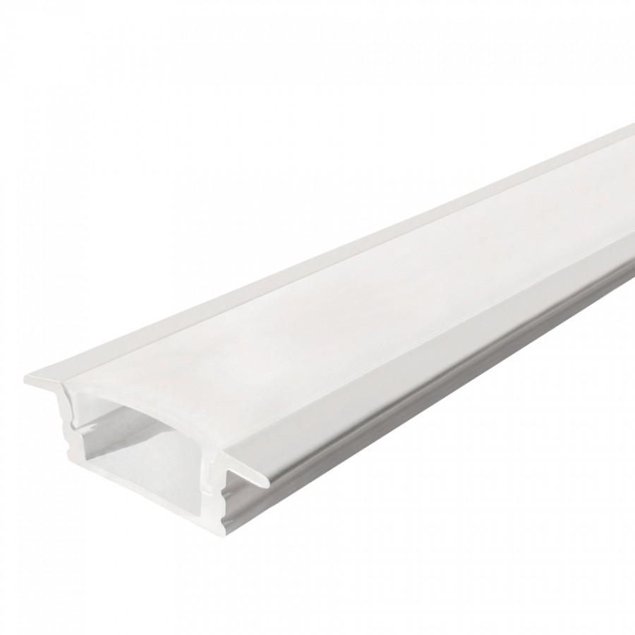 Perfil em U de Encastrar c/ Abas Baixo Branco | Difusor Opalino